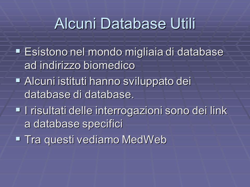 Alcuni Database Utili  Esistono nel mondo migliaia di database ad indirizzo biomedico  Alcuni istituti hanno sviluppato dei database di database.