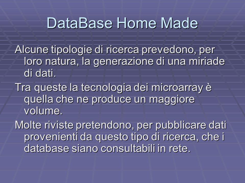 DataBase Home Made Alcune tipologie di ricerca prevedono, per loro natura, la generazione di una miriade di dati.