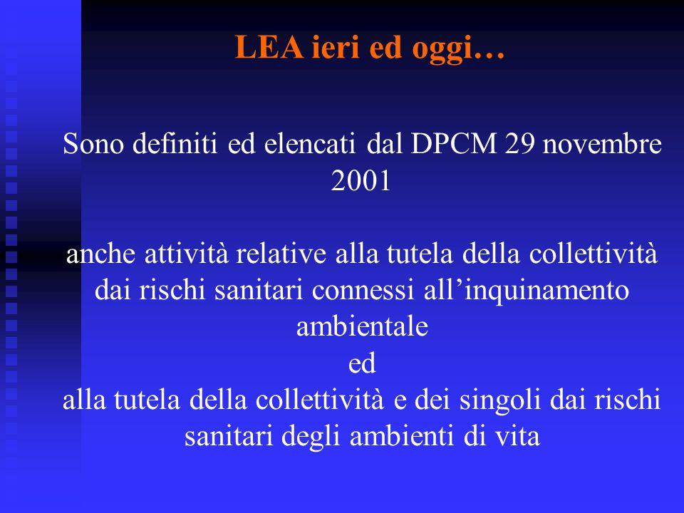 LEA ieri ed oggi… Sono definiti ed elencati dal DPCM 29 novembre 2001 anche attività relative alla tutela della collettività dai rischi sanitari conne