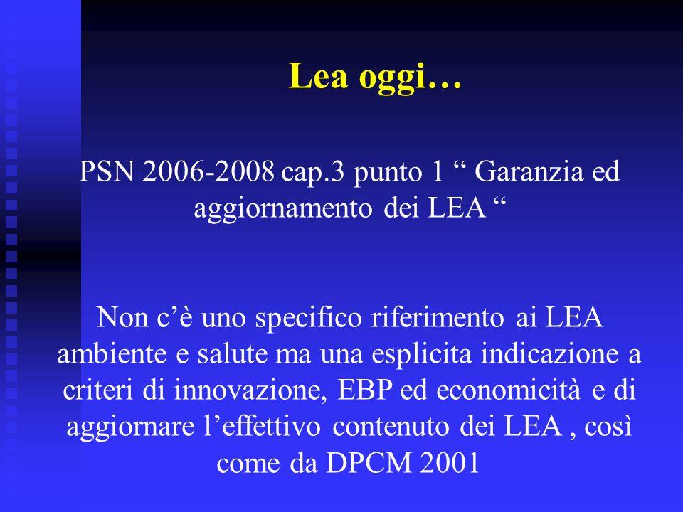 """Lea oggi… PSN 2006-2008 cap.3 punto 1 """" Garanzia ed aggiornamento dei LEA """" Non c'è uno specifico riferimento ai LEA ambiente e salute ma una esplicit"""