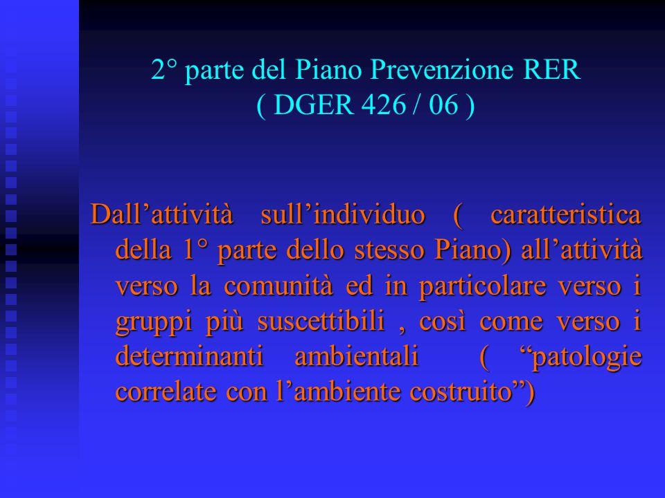 2° parte del Piano Prevenzione RER ( DGER 426 / 06 ) Dall'attività sull'individuo ( caratteristica della 1° parte dello stesso Piano) all'attività ver