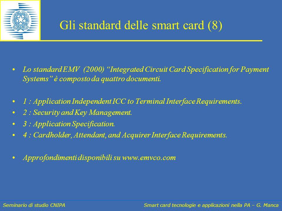"""Seminario di studio CNIPA Smart card tecnologie e applicazioni nella PA – G. Manca Gli standard delle smart card (8) Lo standard EMV (2000) """"Integrate"""