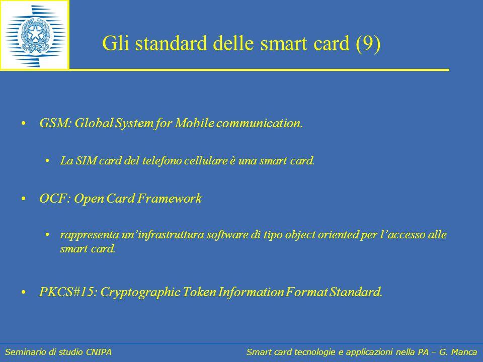 Seminario di studio CNIPA Smart card tecnologie e applicazioni nella PA – G. Manca Gli standard delle smart card (9) GSM: Global System for Mobile com