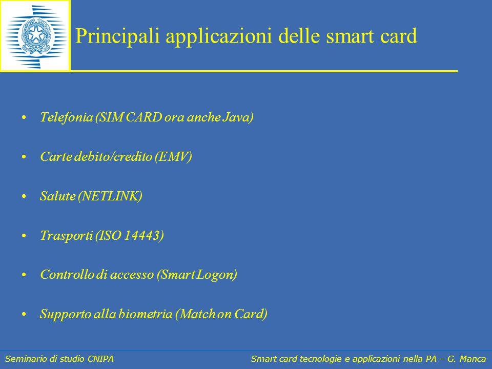 Seminario di studio CNIPA Smart card tecnologie e applicazioni nella PA – G. Manca Principali applicazioni delle smart card Telefonia (SIM CARD ora an