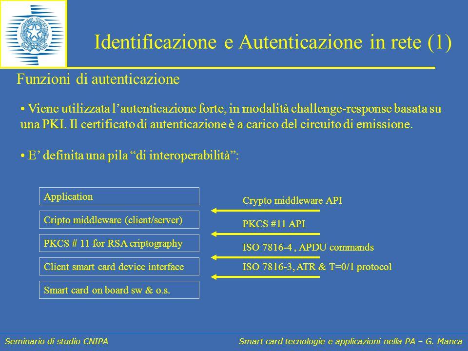 Seminario di studio CNIPA Smart card tecnologie e applicazioni nella PA – G. Manca Identificazione e Autenticazione in rete (1) Viene utilizzata l'aut