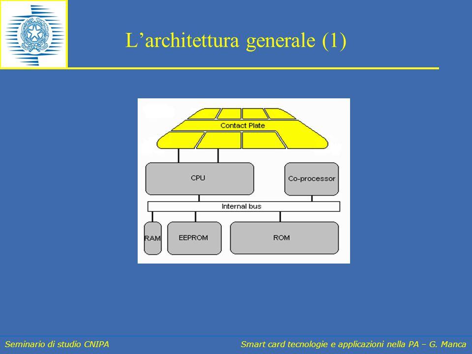 Seminario di studio CNIPA Smart card tecnologie e applicazioni nella PA – G. Manca L'architettura generale (1)
