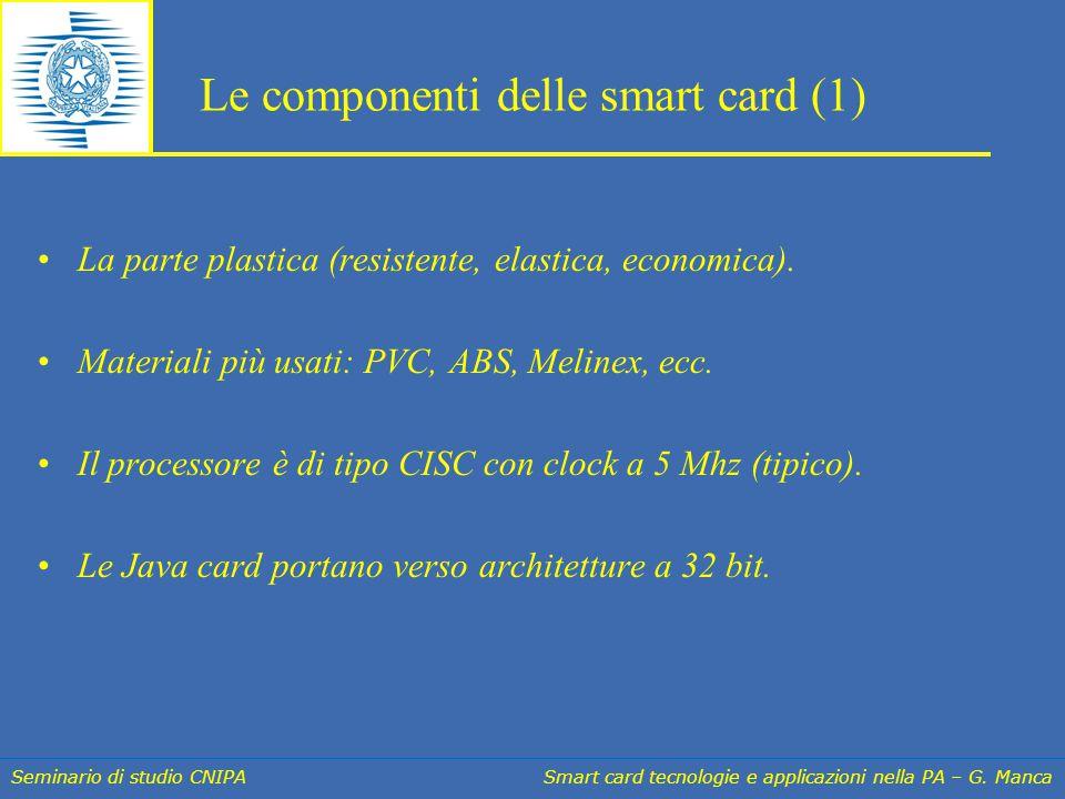Seminario di studio CNIPA Smart card tecnologie e applicazioni nella PA – G. Manca Le componenti delle smart card (1) La parte plastica (resistente, e
