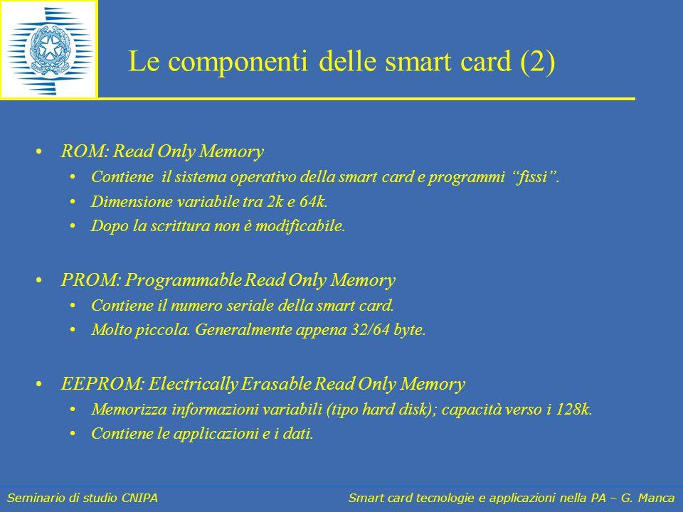 Seminario di studio CNIPA Smart card tecnologie e applicazioni nella PA – G. Manca Le componenti delle smart card (2) ROM: Read Only Memory Contiene i