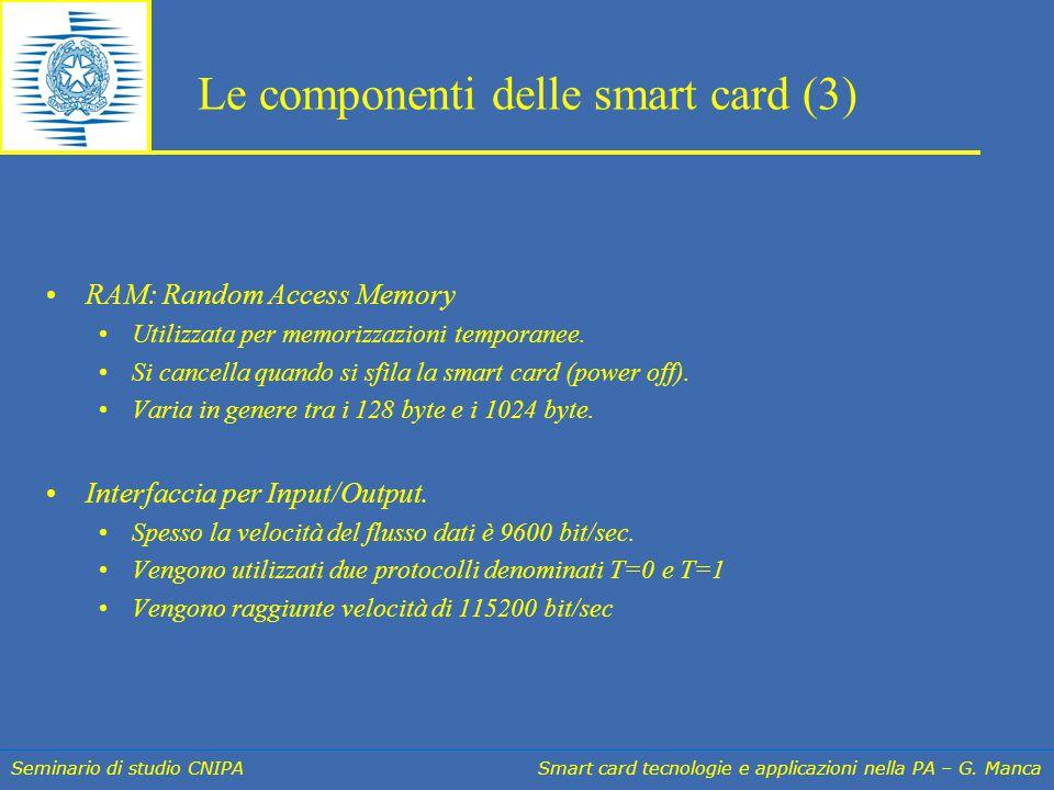 Seminario di studio CNIPA Smart card tecnologie e applicazioni nella PA – G. Manca Le componenti delle smart card (3) RAM: Random Access Memory Utiliz