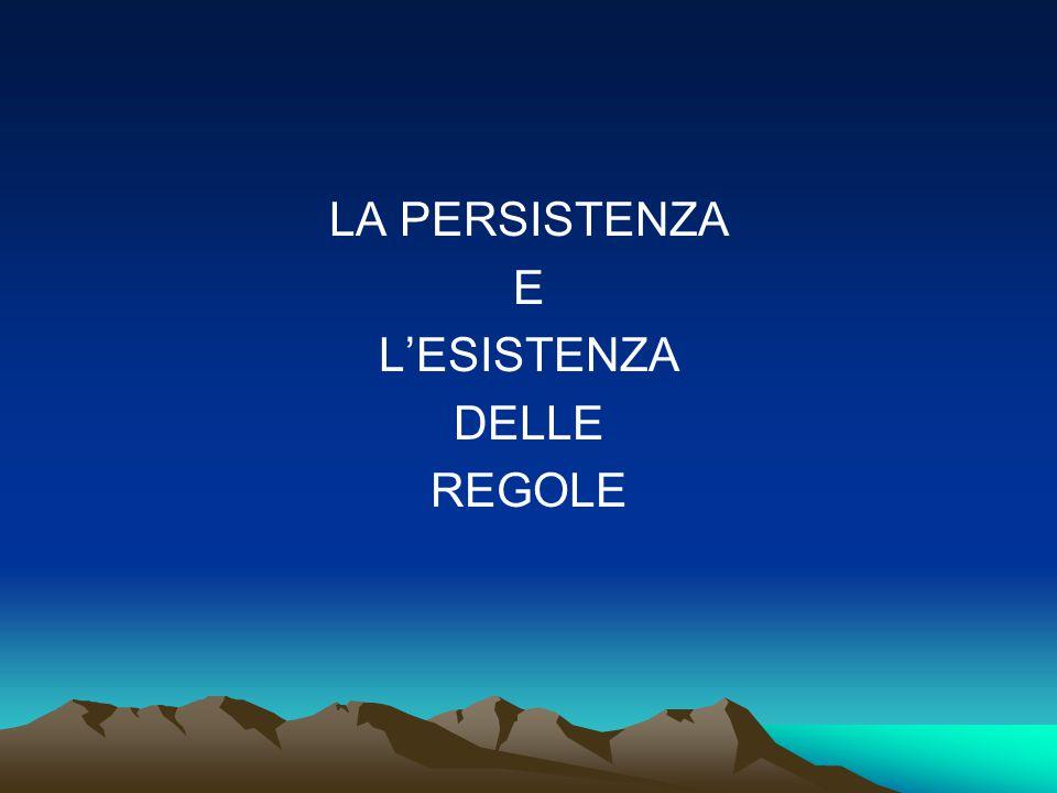 La persistenza e l'esistenza delle regole - L'assenza di regole: l'agognata libertà - La libertà è percepita come sovvertimento delle regole