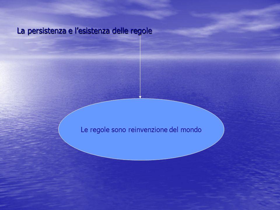 La persistenza e l'esistenza delle regole Le regole sono reinvenzione del mondo