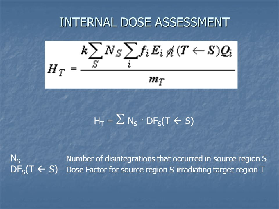INTERNAL DOSE ASSESSMENT H T =  N S · DF S (T  S) N S Number of disintegrations that occurred in source region S DF S (T  S) Dose Factor for source region S irradiating target region T