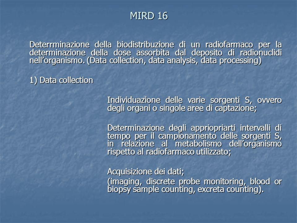 MIRD 16 Deterrminazione della biodistribuzione di un radiofarmaco per la determinazione della dose assorbita dal deposito di radionuclidi nell'organis