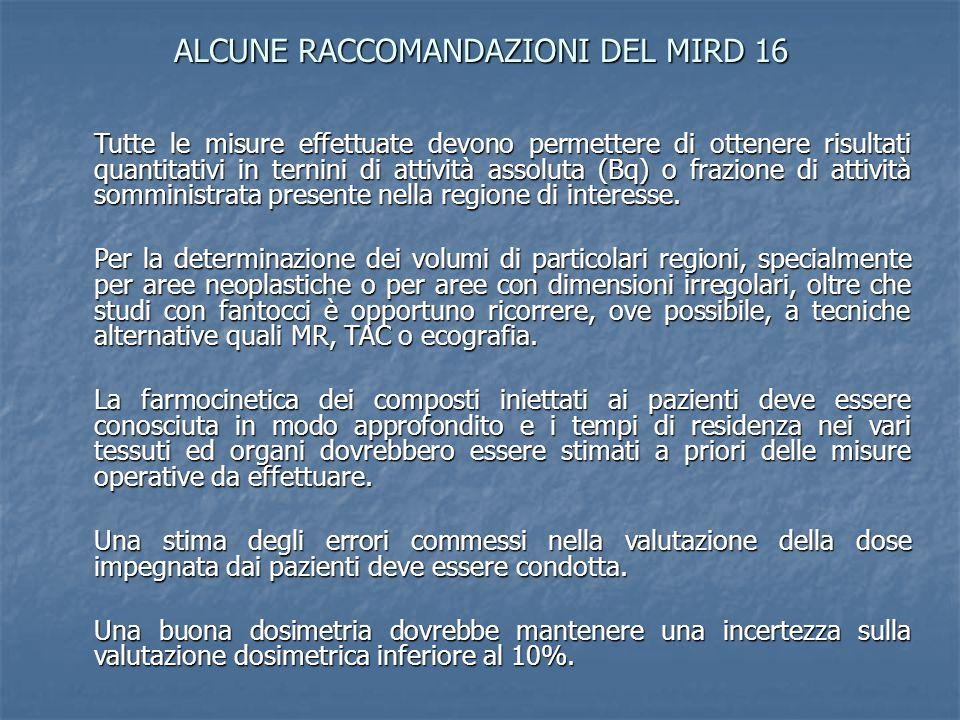ALCUNE RACCOMANDAZIONI DEL MIRD 16 Tutte le misure effettuate devono permettere di ottenere risultati quantitativi in ternini di attività assoluta (Bq