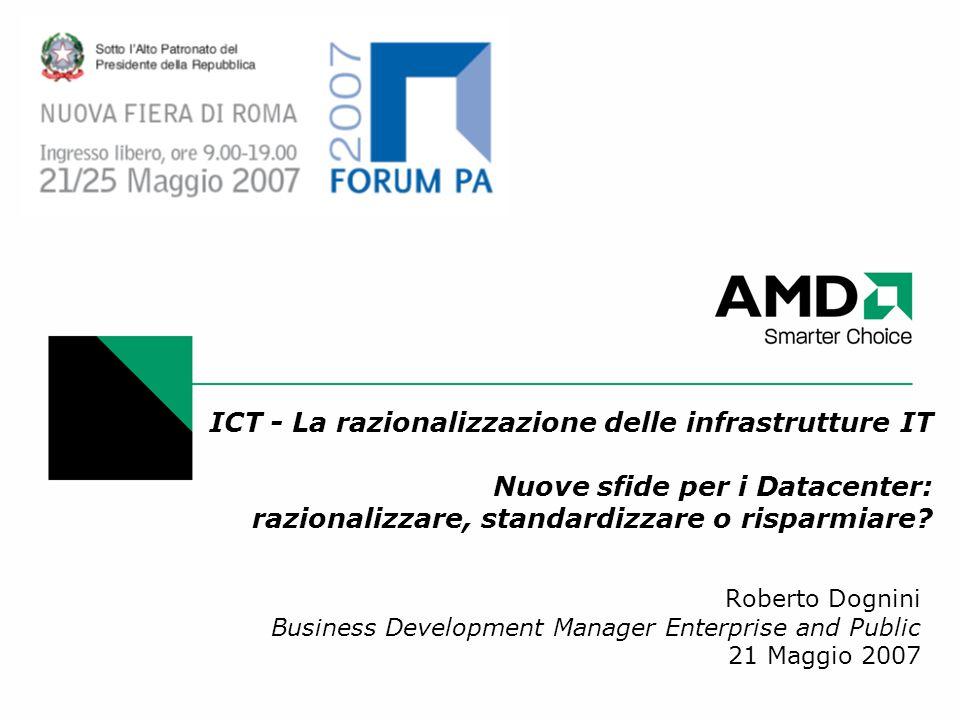 ICT - La razionalizzazione delle infrastrutture IT Nuove sfide per i Datacenter: razionalizzare, standardizzare o risparmiare? Roberto Dognini Busines