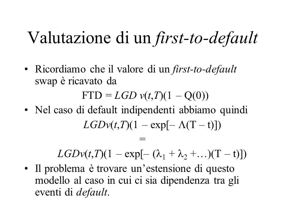 Valutazione di un first-to-default Ricordiamo che il valore di un first-to-default swap è ricavato da FTD = LGD v(t,T)(1 – Q(0)) Nel caso di default i