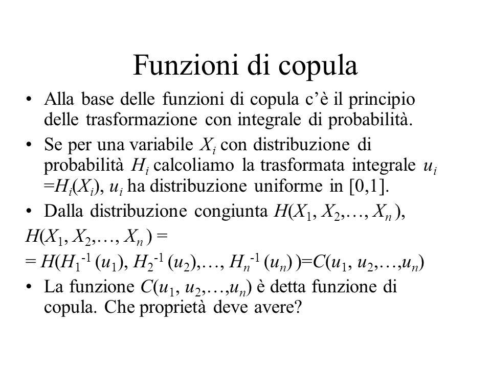 Funzioni di copula Alla base delle funzioni di copula c'è il principio delle trasformazione con integrale di probabilità. Se per una variabile X i con