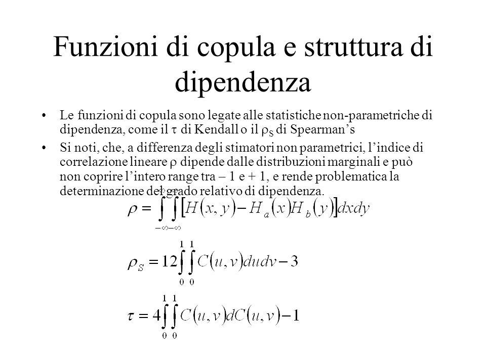 Funzioni di copula e struttura di dipendenza Le funzioni di copula sono legate alle statistiche non-parametriche di dipendenza, come il  di Kendall o