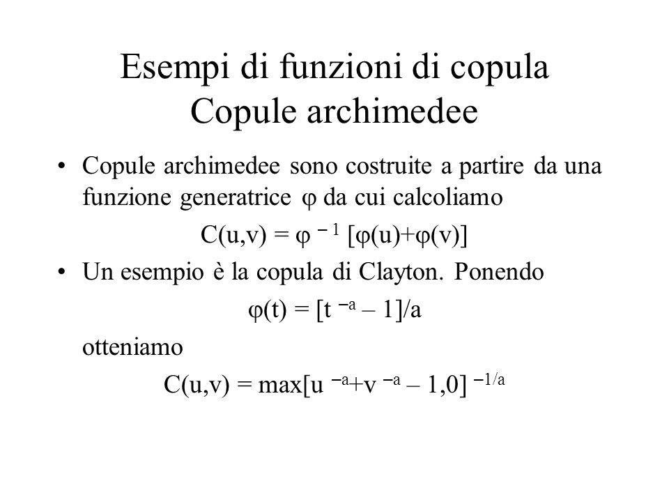 Esempi di funzioni di copula Copule archimedee Copule archimedee sono costruite a partire da una funzione generatrice  da cui calcoliamo C(u,v) =  –