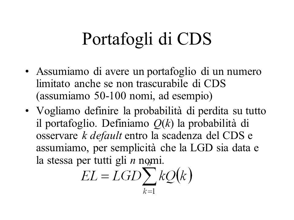 Portafogli di CDS Assumiamo di avere un portafoglio di un numero limitato anche se non trascurabile di CDS (assumiamo 50-100 nomi, ad esempio) Vogliam