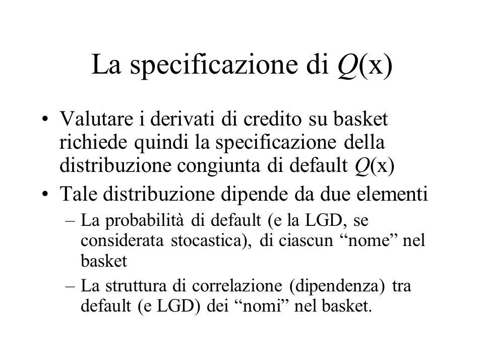 Modelli di Q(x) Le ipotesi che possono essere fatte sulla perdita attesa di ciascun nome sono –Pool omogeneo di nomi (stessa probabilità di default e stessa LGD) –Pool eterogeneo di nomi (diversa probabilità di default e diversa LGD) Le ipotesi sulla struttura di dipendenza sono –Default indipendenti –Modelli in forma ridotta multivariati (Marshall Olkin) –Funzioni di copula –Factor copula (default condizionalmente indipendenti)