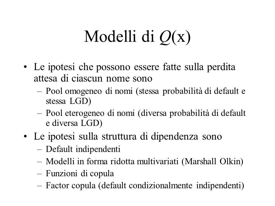 Modelli di Q(x) Le ipotesi che possono essere fatte sulla perdita attesa di ciascun nome sono –Pool omogeneo di nomi (stessa probabilità di default e