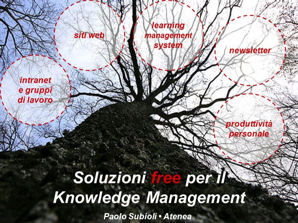Soluzioni free per il Knowledge Management Paolo Subioli Atenea intranet e gruppi di lavoro siti web learning management system newsletter produttività personale