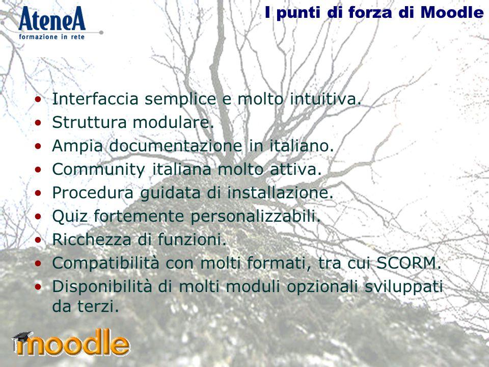 I punti di forza di Moodle Interfaccia semplice e molto intuitiva.