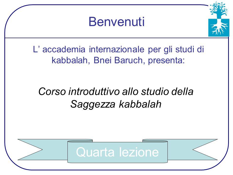 L' accademia internazionale per gli studi di kabbalah, Bnei Baruch, presenta: Corso introduttivo allo studio della Saggezza kabbalah Quarta lezione Benvenuti