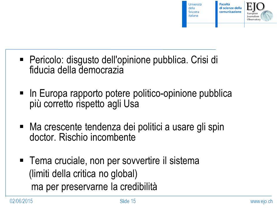 www.ejo.ch02/06/2015Slide 15  Pericolo: disgusto dell opinione pubblica.