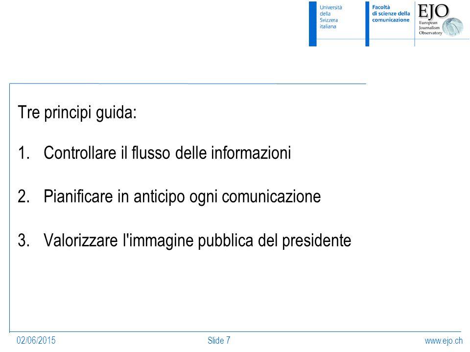 www.ejo.ch02/06/2015Slide 7 Tre principi guida: 1.Controllare il flusso delle informazioni 2.Pianificare in anticipo ogni comunicazione 3.Valorizzare l immagine pubblica del presidente