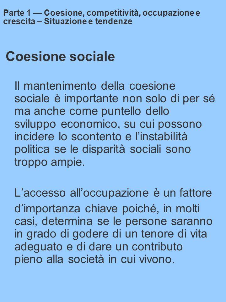 Coesione sociale Il mantenimento della coesione sociale è importante non solo di per sé ma anche come puntello dello sviluppo economico, su cui possono incidere lo scontento e l'instabilità politica se le disparità sociali sono troppo ampie.