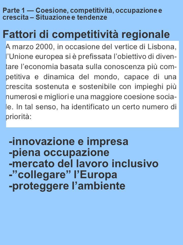 Fattori di competitività regionale Parte 1 — Coesione, competitività, occupazione e crescita – Situazione e tendenze -innovazione e impresa -piena occupazione -mercato del lavoro inclusivo - collegare l'Europa -proteggere l'ambiente