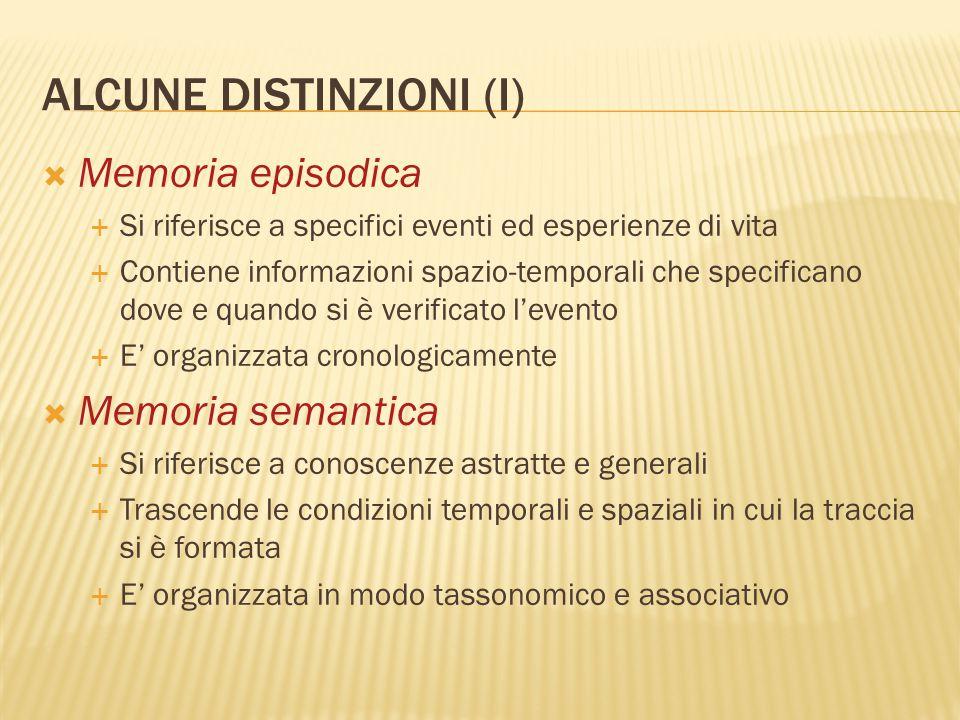 ALCUNE DISTINZIONI (I)  Memoria episodica  Si riferisce a specifici eventi ed esperienze di vita  Contiene informazioni spazio-temporali che specif
