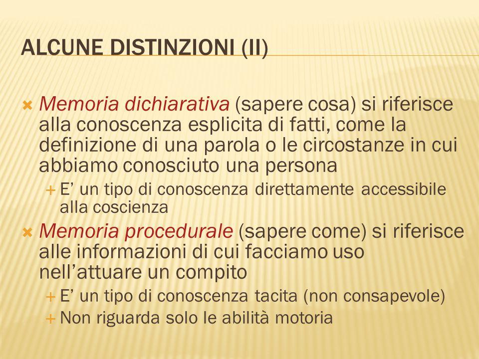 ALCUNE DISTINZIONI (II)  Memoria dichiarativa (sapere cosa) si riferisce alla conoscenza esplicita di fatti, come la definizione di una parola o le c
