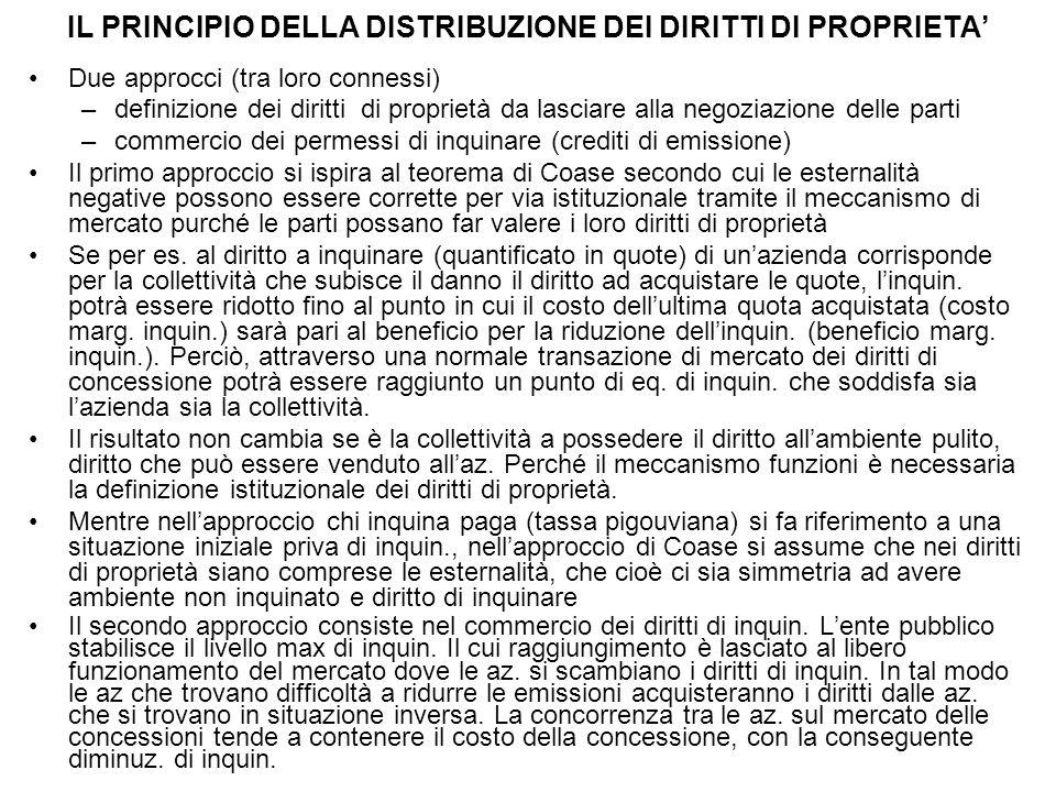 IL PRINCIPIO DELLA DISTRIBUZIONE DEI DIRITTI DI PROPRIETA' Due approcci (tra loro connessi) –definizione dei diritti di proprietà da lasciare alla neg