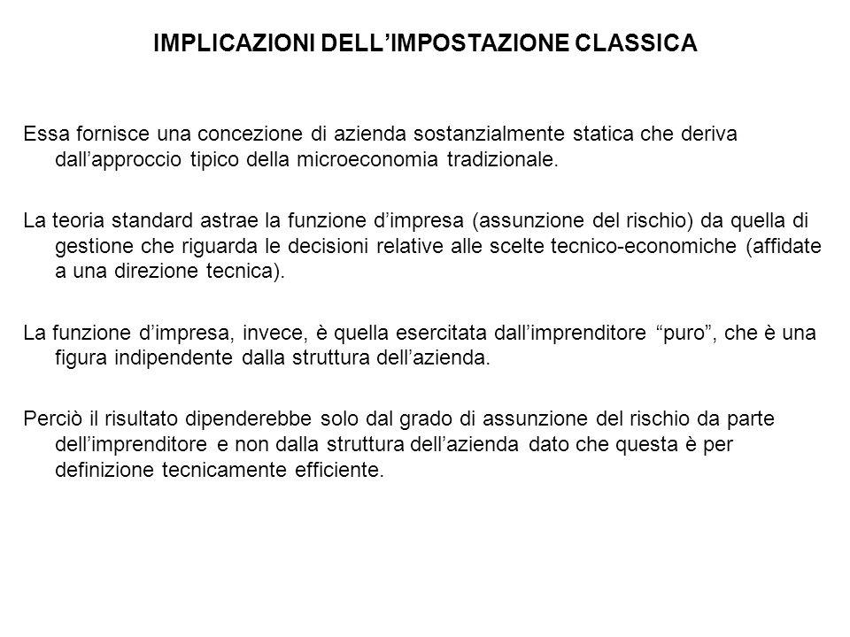 IMPLICAZIONI DELL'IMPOSTAZIONE CLASSICA Essa fornisce una concezione di azienda sostanzialmente statica che deriva dall'approccio tipico della microeconomia tradizionale.