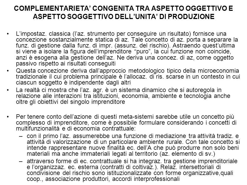 COMPLEMENTARIETA' CONGENITA TRA ASPETTO OGGETTIVO E ASPETTO SOGGETTIVO DELL'UNITA' DI PRODUZIONE L'impostaz. classica (l'az. strumento per conseguire