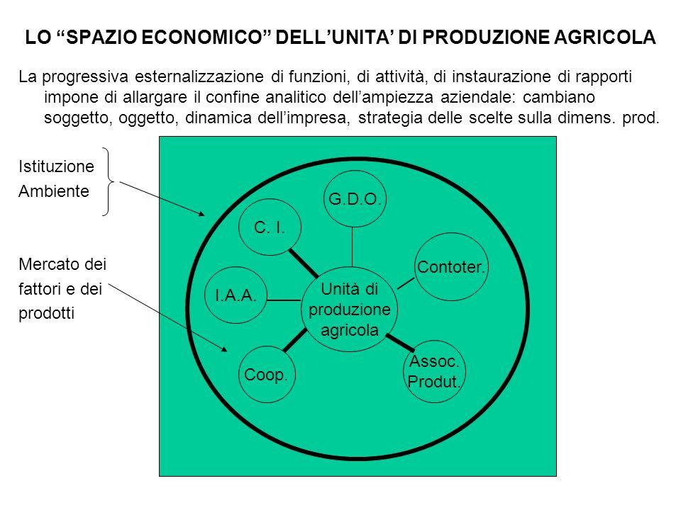 """LO """"SPAZIO ECONOMICO"""" DELL'UNITA' DI PRODUZIONE AGRICOLA La progressiva esternalizzazione di funzioni, di attività, di instaurazione di rapporti impon"""