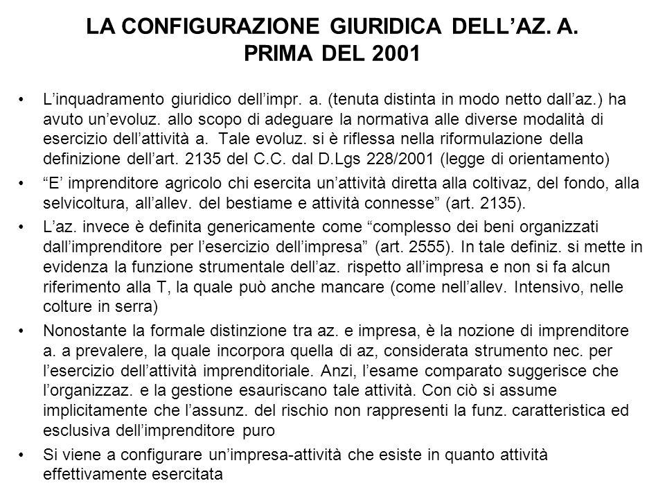 LA CONFIGURAZIONE GIURIDICA DELL'AZ. A. PRIMA DEL 2001 L'inquadramento giuridico dell'impr. a. (tenuta distinta in modo netto dall'az.) ha avuto un'ev