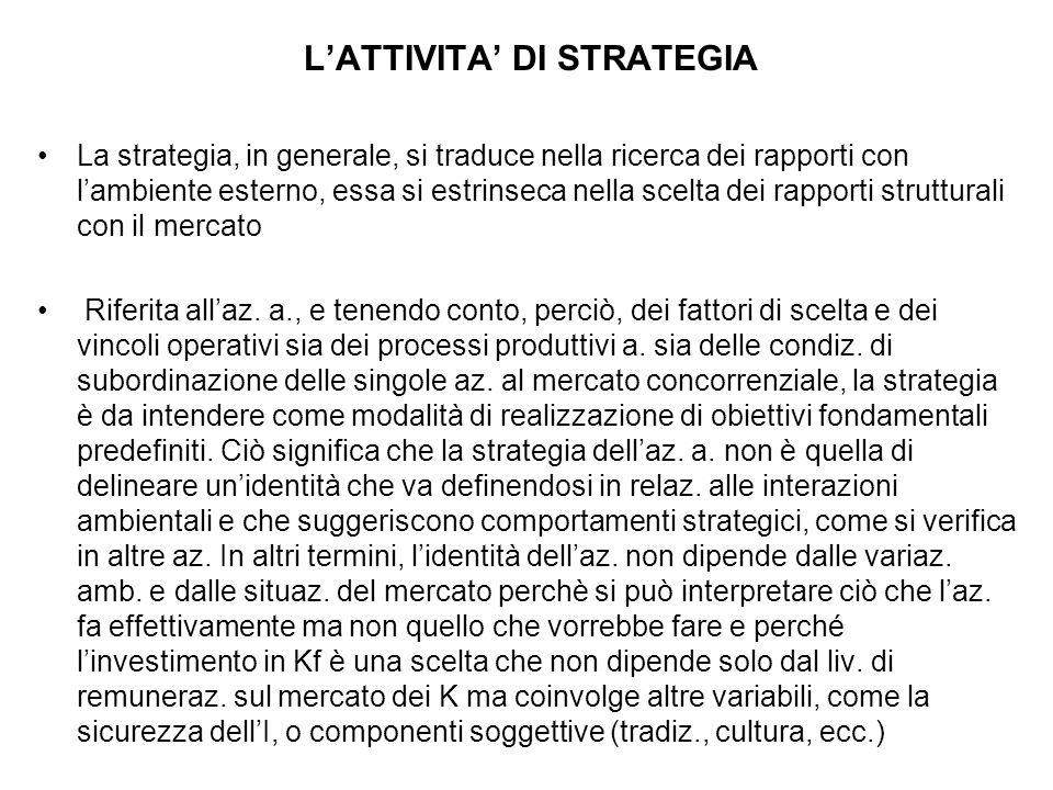 L'ATTIVITA' DI STRATEGIA La strategia, in generale, si traduce nella ricerca dei rapporti con l'ambiente esterno, essa si estrinseca nella scelta dei rapporti strutturali con il mercato Riferita all'az.