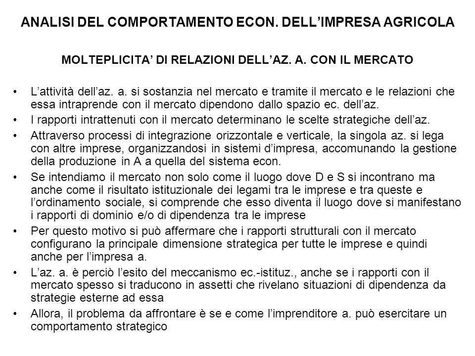ANALISI DEL COMPORTAMENTO ECON.DELL'IMPRESA AGRICOLA MOLTEPLICITA' DI RELAZIONI DELL'AZ.