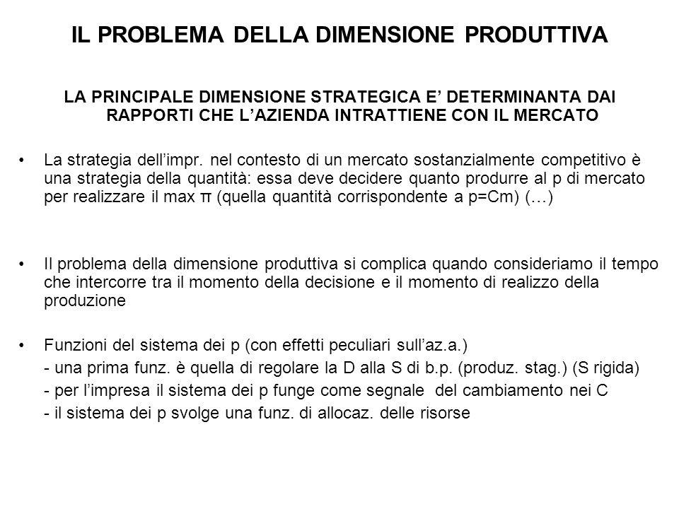 IL PROBLEMA DELLA DIMENSIONE PRODUTTIVA LA PRINCIPALE DIMENSIONE STRATEGICA E' DETERMINANTA DAI RAPPORTI CHE L'AZIENDA INTRATTIENE CON IL MERCATO La strategia dell'impr.
