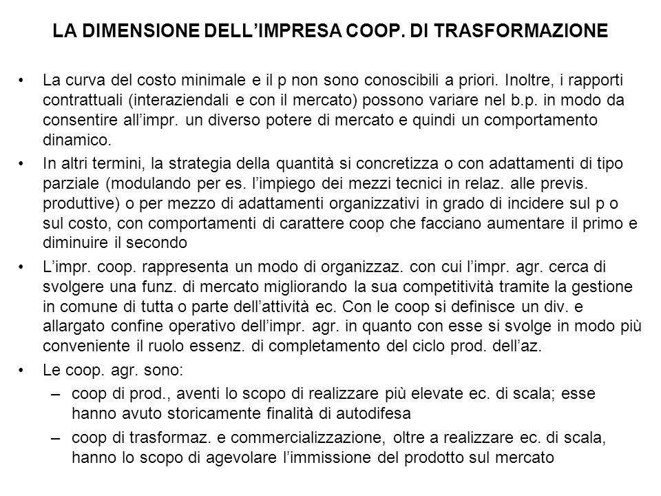 LA DIMENSIONE DELL'IMPRESA COOP.