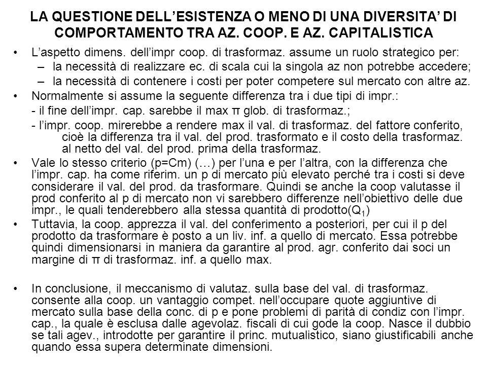 LA QUESTIONE DELL'ESISTENZA O MENO DI UNA DIVERSITA' DI COMPORTAMENTO TRA AZ.