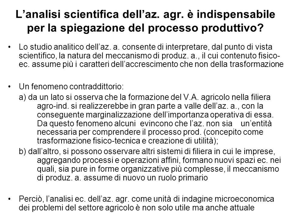 L'analisi scientifica dell'az. agr. è indispensabile per la spiegazione del processo produttivo? Lo studio analitico dell'az. a. consente di interpret