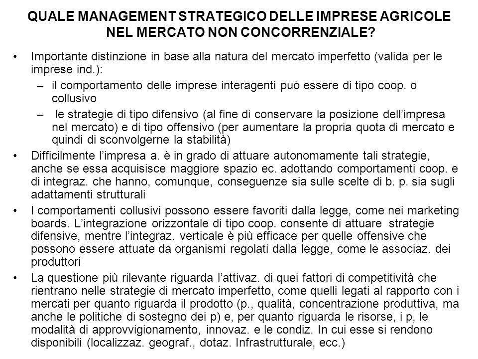 QUALE MANAGEMENT STRATEGICO DELLE IMPRESE AGRICOLE NEL MERCATO NON CONCORRENZIALE? Importante distinzione in base alla natura del mercato imperfetto (