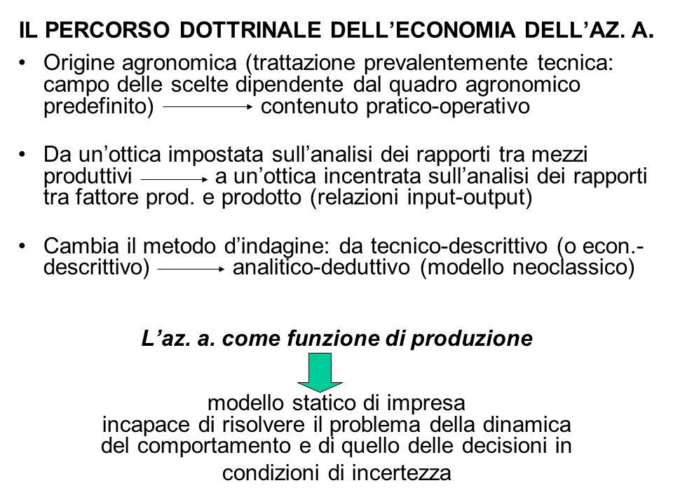 IL PERCORSO DOTTRINALE DELL'ECONOMIA DELL'AZ. A. Origine agronomica (trattazione prevalentemente tecnica: campo delle scelte dipendente dal quadro agr