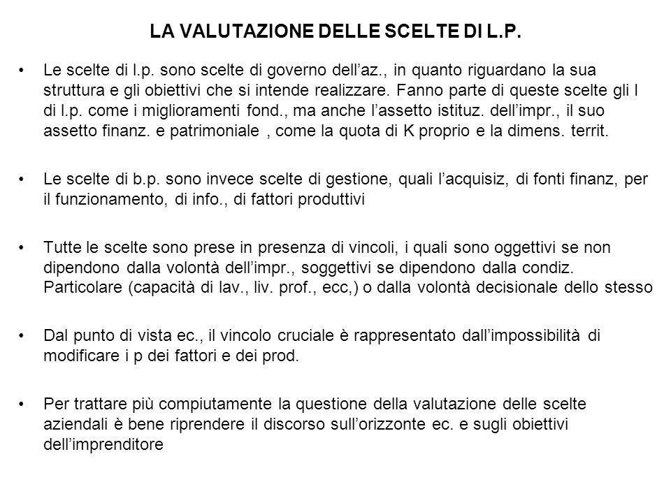LA VALUTAZIONE DELLE SCELTE DI L.P.Le scelte di l.p.