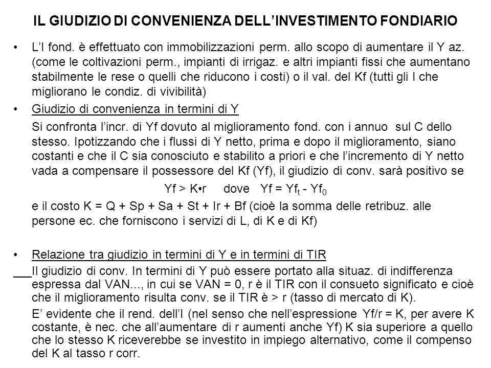 IL GIUDIZIO DI CONVENIENZA DELL'INVESTIMENTO FONDIARIO L'I fond. è effettuato con immobilizzazioni perm. allo scopo di aumentare il Y az. (come le col
